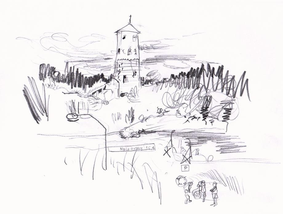 Live sketch Stegeborgs slottsruin ©Jalmar Staaf
