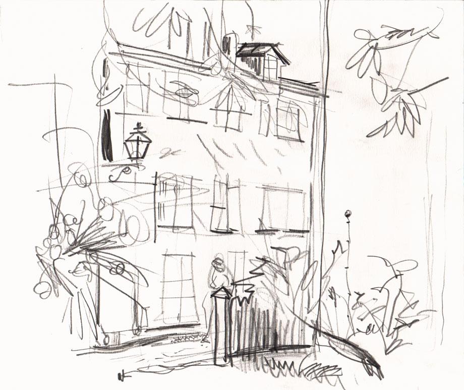 Live sketch Stockholm, Gamla stan, Baggensgatan ©Jalmar Staaf