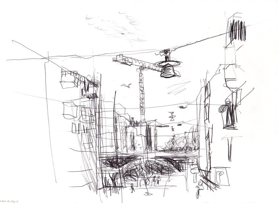 Live sketch Stockholm, Södermalm, Kvarteret Linjalen ©Jalmar Staaf