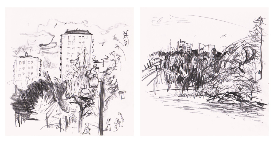 Live sketch Stockholm, Sickla, Årsta holmar ©Jalmar Staaf
