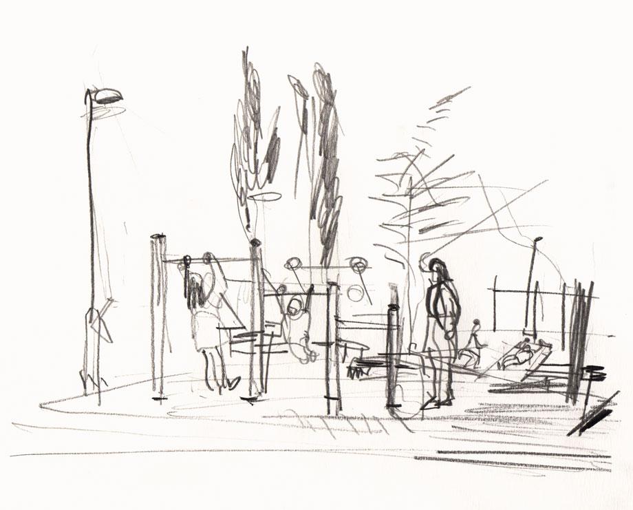 Live Sketch Stockholm, Hornstull, Tanto utegym ©Jalmar Staaf
