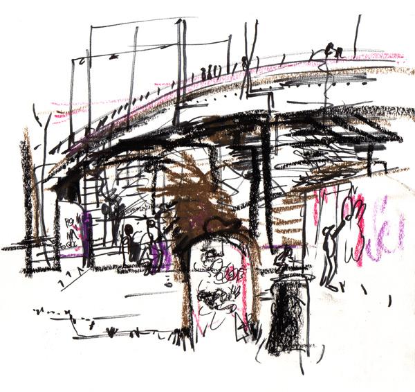 Live Sketch Stockholm, Hornstull, Graffitivägg, Tantolunden ©Jalmar Staaf