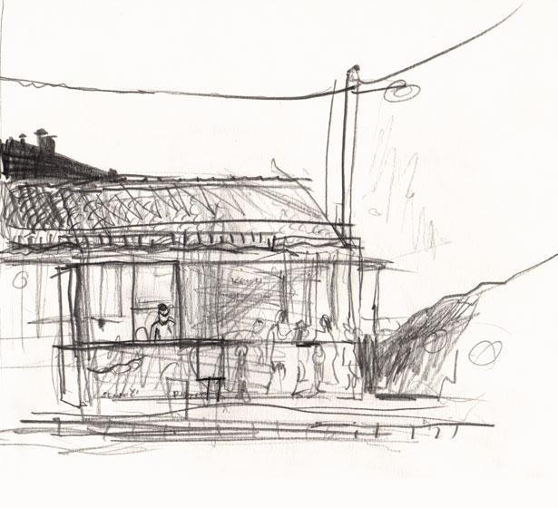 Live sketch Croatia, Stobreč - Pekarna Stobrec ©Jalmar Staaf