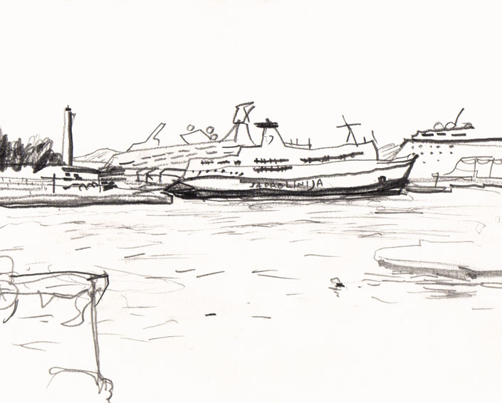 Live sketch Croatia, Split - Port of Split - Jadrolinija ferry ©Jalmar Staaf