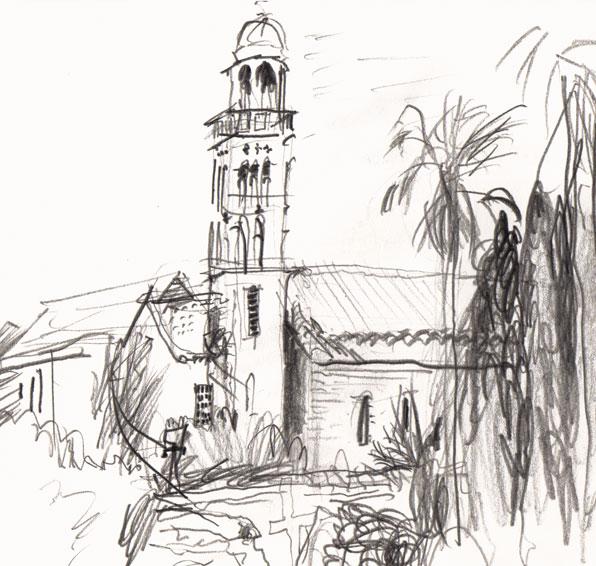 Live sketch Croatia, Hvar Town, Franjevački Samostan, Franciscan Monastery ©Jalmar Staaf