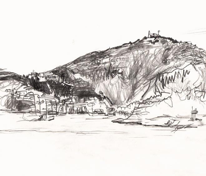 Live sketch Croatia, Hvar Island, Fortress Fortica Španjola ©Jalmar Staaf