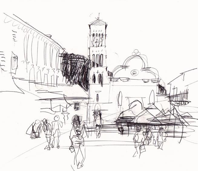 Live sketch Croatia, Hvar Town, Trg Svetog Stjepana, Sveti Stjepan ©Jalmar Staaf