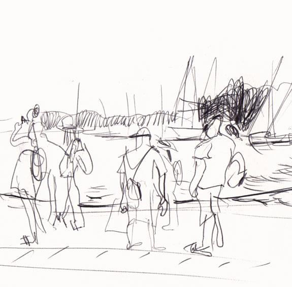 Live sketch Croatia, Hvar Town, Ferry port, Riva ©Jalmar Staaf