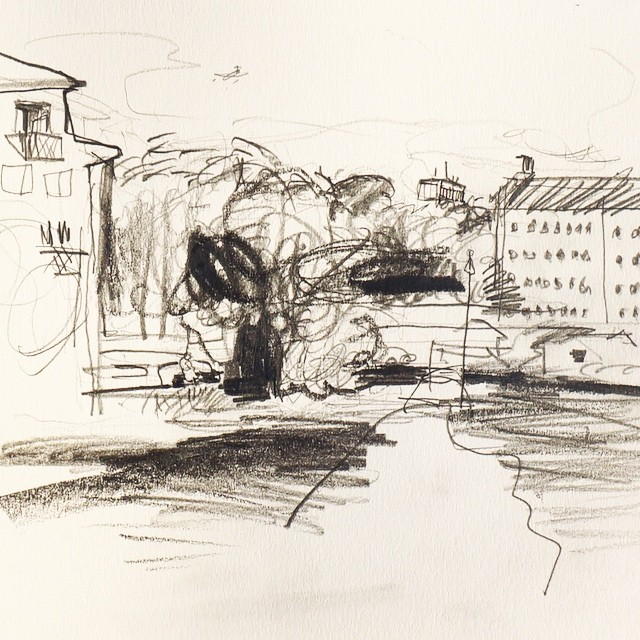 Live sketch Stockholm, Reimersholme, Långholmen ©Jalmar Staaf